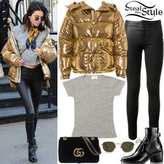 Kendall Jenner was spotted out shopping in New Yorkc City wearing a Re/Done 1960s Slim Tee ($78.00), a Ports 1961 Gold Jacket (Sold Out), RtA Elson Pleat-Detail Jeans (Sold Out), a Gucci GG Marmont Suede Shoulder Bag ($2,300.00), Krewe Ward Sunglasses ($275.00) and Louis Vuitton Republic Ankle Boots (Sold Out). You can find similar pants for less at ASOS ($38.00).