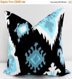 SALE Black Pillow cover. Premier Ikat by TwistedBobbinDesigns