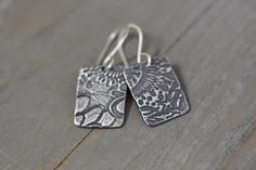 Sterling Silver Botanical Embossed Earrings by DezineStudio