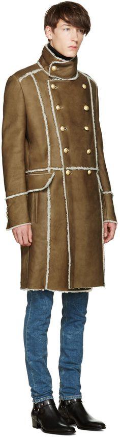 e9914632522 Balmain - Brown Shearling Coat Balmain Kleidung