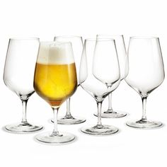 This collection was made by Holmegaard, a prestigious Danish brand known for its quality and refinement. Established in Holmegaard provides glassware to the Royal Danish Court, and now makes it available exclusively at Pottery Barn in North … Beer Glass Set, Wine Glass, Milkshake Glasses, Different Types Of Wine, Brandy Glass, Wine Carafe, Homemade Beer, 6 Pack, How To Make Beer