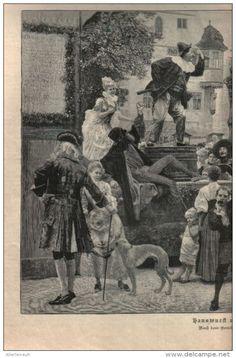 """Hanswurst und Pantalon - Druck, entnommen  aus """"die Gartenlaube"""", 1897"""