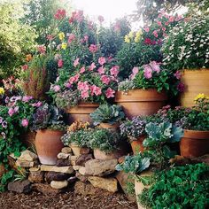 Take advantage of a change in grade to display your favorite potted plants on niches in a retaining wall holding back the slope. Bringing flowering pots closer to eye level gives them greater impact. Beautiful!!