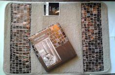 Popular Bath Mosaic Stone Bronze Fabric Shower Curtain & Bath Mat #PopularBath #Contemporary