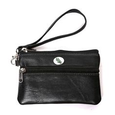 North Texas Mean Green Leather Wristlet, Black - Womens