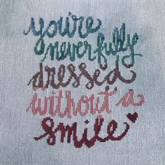 You're Never Fully Dressed without a Smile, from Annie, cross stitch pattern