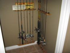 fishing poles storage ideas | Re: fishing pole storage Fishing Pole Storage, Fishing Poles, Hengel, Storage Ideas, Fresh Water, Home Appliances, House Appliances, Fishing Rods, Organization Ideas