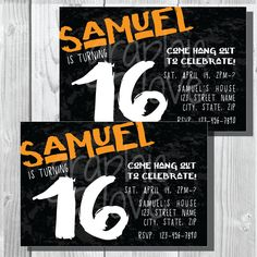 Teen Boy Graphic Personalized Birthday Invitation 4x6 Or 5x7
