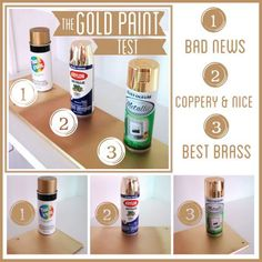 Choosing Gold Spray Paint - Rustoleum best in this blogger's opinion