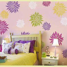 dahlia-flower-stencil for C's room
