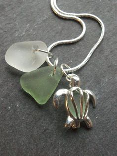 Silver Turtle Cage with seafoam seaglass with a by byNaturesDesign, $16.00