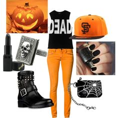 Halloween by tonisha1994 on Polyvore featuring Dead Castle Project, One Green Elephant, Valentino, el, American Needle, Barry M and Halloween