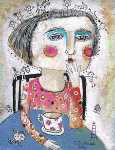 Mixed Media Painting Original Modern Folk Art by kittyjujube