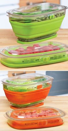 Space-Saving Collapsible Produce Keeper - has a water reservoir to keep your produce fresh longer.