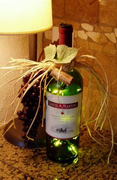 wine bottle re-used as party decoration