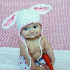 Bunny Hat Baby Rabbit earflap Hat in by threekittensknitting