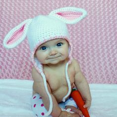 How cute is this baby?    Bunny Rabbit Hat - size 3 to 8 years, with earflaps. $19.00, via Etsy.