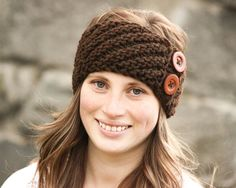 Knitted Teenage/Adult Button Headband Teenage girl by LiliasDesign