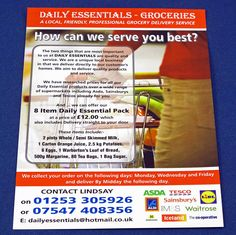Colour printed leaflets Grocery Delivery Service, Leaflets, Two By Two, Colour, Printed, Business, Color, Brochures, Prints