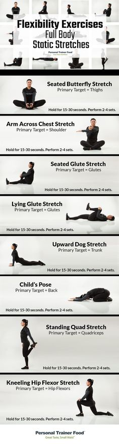 8 Full Body Static Stretches you can do anywhere anytime step by step infograp