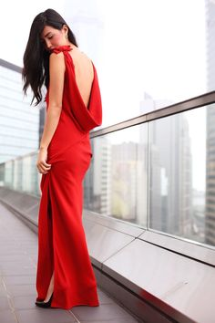 red dress - open back,  bow detail on the shoulders