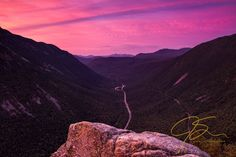 From Mt. Willard, an eagle eye view looking down through Crawford Notch, NH under an amazing sunrise. Prints of this, and many other landscape photographs can be purchased starting at $6.50.