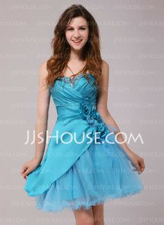 Cocktail Dresses - $107.49 - A-Line/Princess Sweetheart Short/Mini Taffeta Tulle Cocktail Dresses With Ruffle Beading Flower(s) (016013972) http://jjshouse.com/A-Line-Princess-Sweetheart-Short-Mini-Taffeta-Tulle-Cocktail-Dresses-With-Ruffle-Beading-Flower-S-016013972-g13972