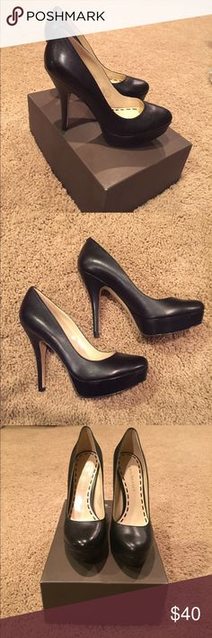 "Enzo Angiolini Smiles Pump Brand New in box (Note: missing top to box). Black Leather, Approx. heel height: 5"" with 1"" platform (comparable to a 4"" heel), Classic Almond-toe pump with platform featuring lightly padded footbed, Imported.   Original Price = 100.00 Enzo Angiolini Shoes Heels"