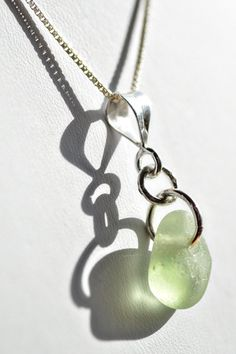 Stunning soft green, frosted sea glass pendant. #sea glass beads & #sea charms: http://www.ecrafty.com/c-780-sea-glass-beads.aspx?pagenum=1===newarrivals=60