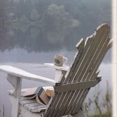 To relax next to the lake in an Adirondack chair. Outdoor Spaces, Outdoor Chairs, Outdoor Living, Peaceful Places, Beautiful Places, Porches, Backyard, Patio, Lake Life
