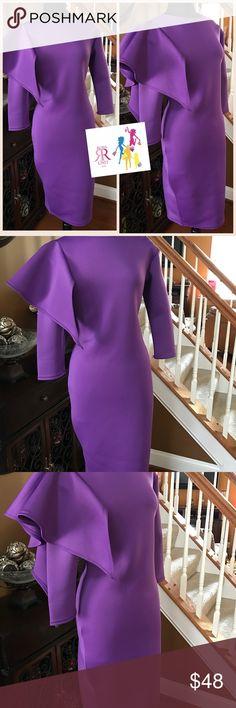 Spring Fling Dress (in Purple) Solid long Sleeve Midi Dress; BodyCon style, crewneck with Ruffle Sleeve detail; techno fabric; Sizes: 1X(14/16), 2X(18/20), 3X (22/24) Dresses Midi