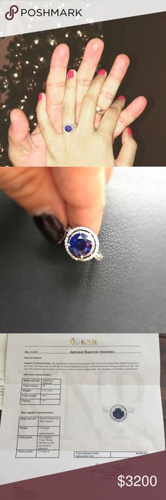 ❗️FLASH SALE❗️Natural Sapphire engagement ring 14k solid white gold 2.19 ct Natural Blue Sapphire halo engagement ring with diamonds with 92 diamonds total on the prong set in size 5. Attached is a photo of the ring details & appraisal! Appraised at $8900, originally purchased for $12500. My husband and I have a newborn and could definitely use $ for baby stuff and chose to downgrade on this beauty. I really want to keep this to pass along to my son's future wife or to my daughter, but need…