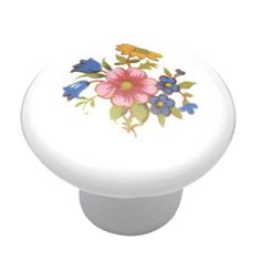 Give your cabinets a fresh, delicate look with the Wildflower Knob. This round, porcelain knob features a beautiful bouquet of flowers and is part of the English Cozy Collection of floral print knobs and pulls from Hickory Hardware.   #VanDykes #Valentines #Knobs