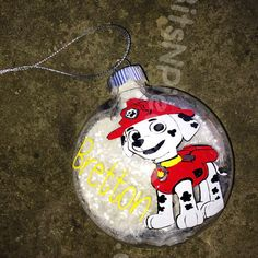 Personalized Marshall Ornament Paw Patrol by BitsNPiecesBySK Homemade Ornaments, Diy Ornaments, Ornament Crafts, Christmas Crafts, Christmas Trees For Kids, Christmas 2016, Diy Christmas Gifts, Christmas Bulbs, Winter Decorations