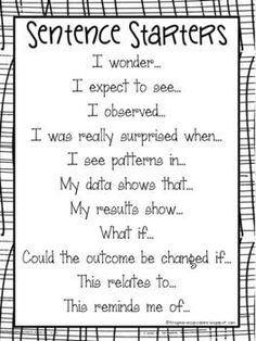 Here's a terrific set of sentence starters for use in science notebooks. Reading response