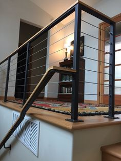 Custom Built Railings & Hand Rails for Stairs, Balconies, or Decks: Railings are an important part of both residential and commercial construction projects. Iron Stair Balusters, Cable Stair Railing, Modern Stair Railing, Stair Railing Design, Steel Railing, Metal Stairs, Metal Railings, Stair Handrail, Staircase Railings