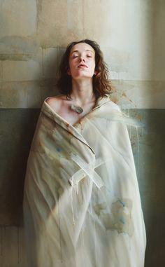 István Sándorfi * 1948-2007 * Hungarian * hyperrealist painter * http://en.wikipedia.org/wiki/Istv%C3%A1n_S%C3%A1ndorfi * Giola With Feather~2006~oil on canvas~130 x 81 cm