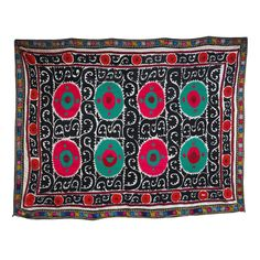 Vintage suzani made of silk and cotton