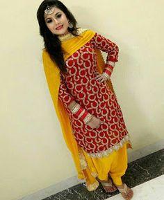 Red and yellow patiyala suit Patiala Suit Designs, Kurta Designs Women, Blouse Designs, Designer Punjabi Suits, Indian Designer Wear, Punjabi Fashion, Indian Fashion, Pakistani Dresses, Indian Dresses
