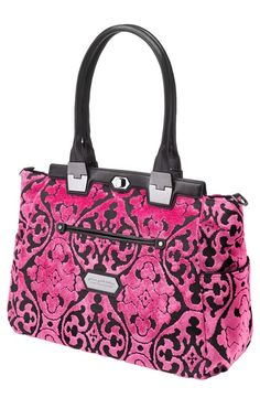 Oh My My - how I would LOVE to have this beautiful bag!!  BEST SPLURGE INCOGNITO DIAPER BAGS: Gorgeous new Café Carryall from @ppbbaby Cake Collection. Choose from European cut velvet in sophisticated black on black or eye-popping dragonfruit pink, or the bag in sleek black nylon. The Carryall comes with a changing pad, wipes case, leather stroller straps, and plenty of interior room, but all anyone else will see is the stylish silhouette, leather trim, and custom hardware