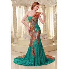 Luxury Mermaid One Shoulder Royal Empire Phoenix Patern Embroidery Peacock Green/Red/Gold  Evening Dress