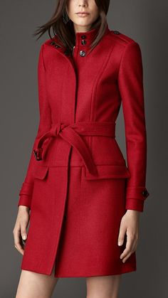 Red Coat: Burberry Structured Boiled Wool Coat