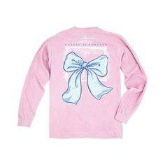 Lily Grace Blossom Bow Long Sleeve Comfort Colors Tee (48 CAD) ❤ liked on Polyvore featuring tops, t-shirts, black, women's clothing, beach t shirts, sleeve t shirt, color block t shirt, long-sleeve shirt and monogram t shirts