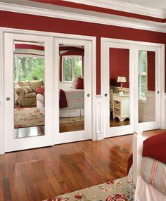Trim and Mirrored sliding bypass closet doors.   Windows and doors manufacturer — JELD-WEN of Canada Ltd Jeld-wen impressions mirrored door