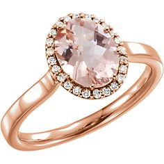 14kt Rose Gold Morganite & 1/8 CTW Diamond Ring