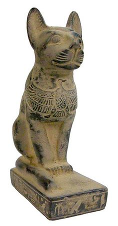 Sadigh Gallery's Ancient Egyptian Limestone Cat Statue - Carved black limestone seated cat with the image of an eagle on the chest, hieroglyphs on the base. Egyptian Cats, Ancient Egyptian Art, Ancient History, Art History, Historical Artifacts, Ancient Artifacts, Statues, Cat Statue, Ancient Civilizations