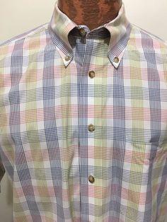 Pendleton Mens L Multi-Color Plaid Button-Down Short-Sleeve Cotton Shirt  #Pendleton #ButtonFront