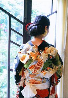 帯結び, 着物 - Kimono and Obi sash, Japan