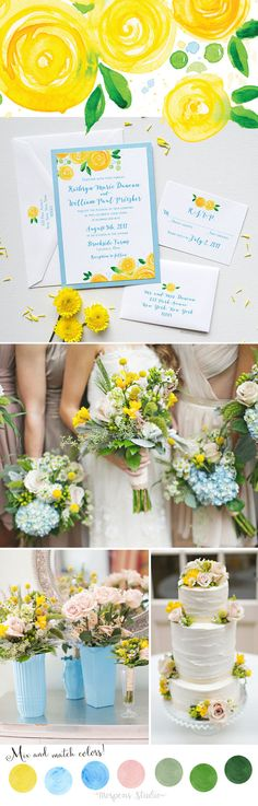 Modern Spring Wedding Ideas! Michelle Mospens original Yellow Rose Blooms hand-painted art in watercolor. Each design is then printed stroke for stroke for a LOVELY hand-painted effect. www.mospensstudio.com