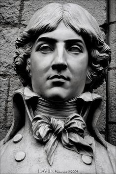 Fine art, sculpture. Saint Just by David d'Angers (1848), Bust of Louis Antoine de Saint-Just. Saint-Just was a military and political leader during the French Revolution. He spearheaded the movement to depose and execute King Louis XVI. He was close friends with Robespierre, another prominent French Revolution character. The two were executed a day after their capture.